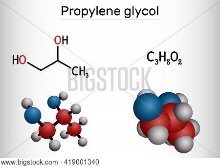Propylene Glycol (1,2-propanediol, Propane-1,2-diol) Molecule. It Is  Propanediol, Humectant, Antifr