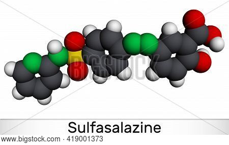 Sulfasalazine Molecule. It Is Azobenzene, Used In The Management Of Inflammatory Bowel Diseases. Mol