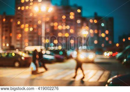 Pedestrian Crossing Defocused Blue Boke Bokeh Urban City Background Effect. Design Backdrop.
