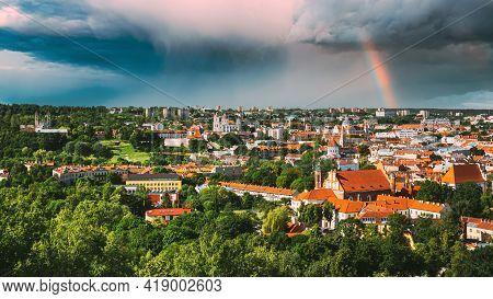 Vilnius, Lithuania. Summer Sunset Sunrise Over Cityscape Of Vilnius, Lithuania. Beautiful View Of Ol