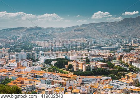 Malaga, Spain. Residential Houses In Malaga, Spain. Skyline. Elevated View.