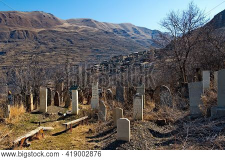 Khushtada. Russia. North-eastern Caucasus. April 04, 2021.  Menhirs Of An Ancient Cemetery At The Fo