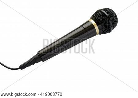 Dynamic Black Microphone With Gold Rim And Black Mesh Isolate