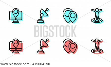 Set Line Location, Monitor With Location Marker, Radar And Person Icon. Vector