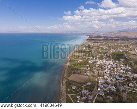 Aerial View Of Lake Van Coastline. Van Is The Largest Lake In Turkey, Lies In The Far East Of That C