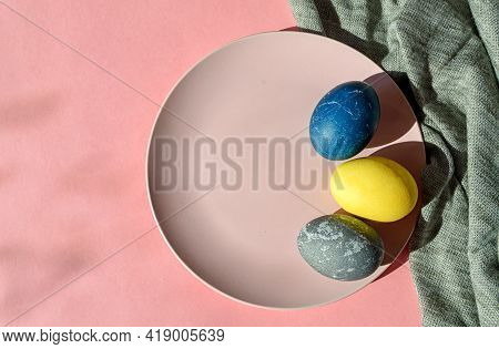 Pink Ceramic Plate With Colorful Easter Eggs In Pastel Colors On A Pink Background. Happy Easter Car
