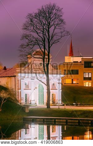 Parnu, Estonia. Tallinn Gate Is Historical Fortification Of Parnu. 17th Century Gate. Night View.