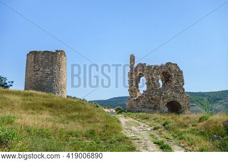 Remains Of Towers Of Medieval Fortress Kalamita, Inkerman, Crimea. It Was Founded In Vi By Byzantine