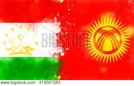 National Flags Kyrgyzstan And Tajikistan, Watercolor. Confrontation Concept, Conflict