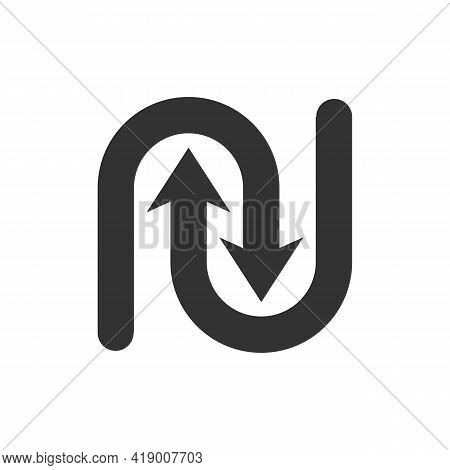 The Undo And Redo Logos Form The Letters Nu, The Design Is Simple And Easy To Remember. Suitable For