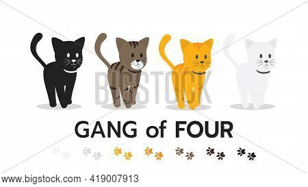 Cute Cat Kitten Character Cartoon, Collection Of Cats Flat Style On White Background Vector Illustra