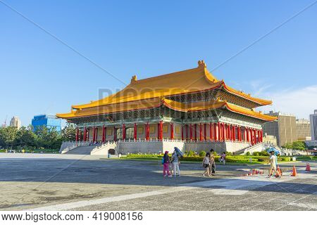 Taipei, Taiwan - Aug 6,2018 : Day View Of National Concert Hall At Chiang Kai-shek Memorial Hall On