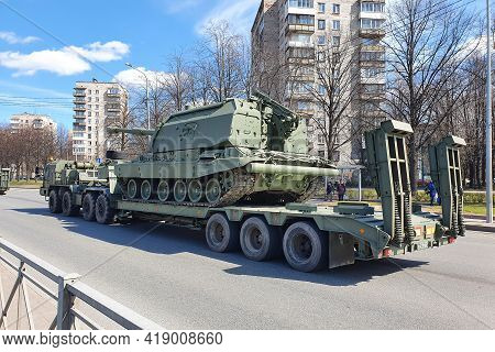 Saint Petersburg, Russia 4.30.2021- Military Equipment, Self-propelled Howitzer. Preparations Of Mil