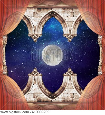 Ceiling With Gothic Arch And Moonlight And Curtains