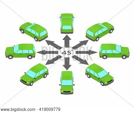 Rotation Of The Station Wagon Car By 45 Degrees. Estate Car In Different Angles In Isometric.