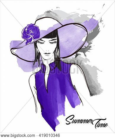 Young Beautiful Woman In A Wide-brimmed Hat. Sale Concept. Hand-drawn Fashion Illustration