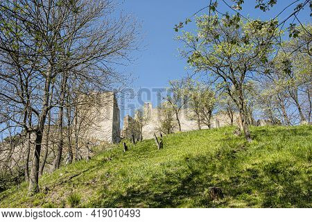 Beckov Castle Ruins And Jewish Cemetery, Slovak Republic, Europe. Travel Destination.