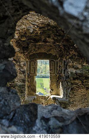View From The Window, Beckov, Slovak Republic, Europe. Travel Destination.