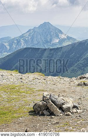 Big Rozsutec Hill From Big Krivan, Little Fatra, Slovak Republic. Hiking Theme. Seasonal Natural Sce