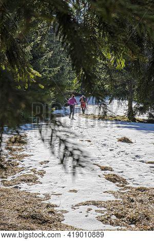 Tourist People, Lysec, Big Fatra Mountains, Slovak Republic. Hiking Theme. Seasonal Nature.