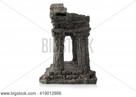 Decorative Decoration In The Form Of Ancient And Old Columns In The Aquarium. Isolated On White Back