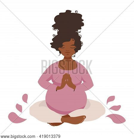 Thoughtful Pregnant Girl Is Doing Yoga Zlotus Pose