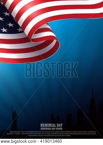 Blue Illustration With Silhouette Of Waving Usa Flag, Silhouette Of Buildings, Bright Rays Of Light,