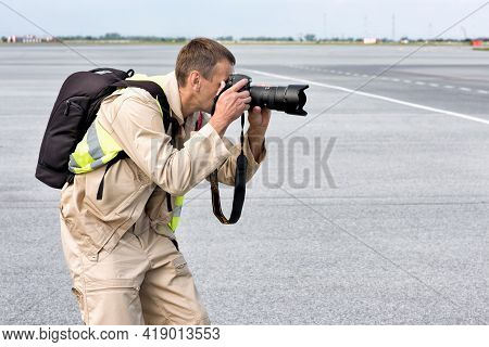 Abakan, Russia - August 08, 2020: A Photographer Taking Pictures At The Airport.