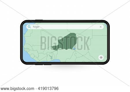 Searching Map Of Niger In Smartphone Map Application. Map Of Niger In Cell Phone. Vector Illustratio
