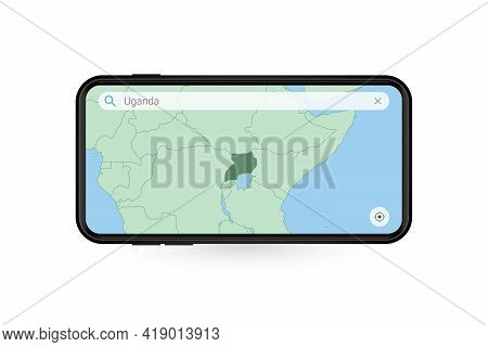 Searching Map Of Uganda In Smartphone Map Application. Map Of Uganda In Cell Phone. Vector Illustrat