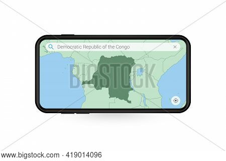 Searching Map Of Dr Congo In Smartphone Map Application. Map Of Dr Congo In Cell Phone. Vector Illus