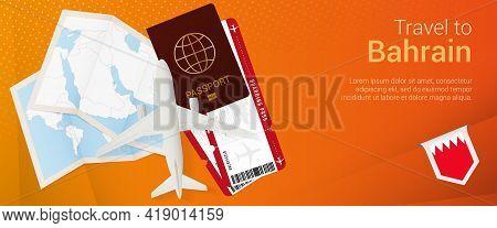 Travel To Bahrain Pop-under Banner. Trip Banner With Passport, Tickets, Airplane, Boarding Pass, Map