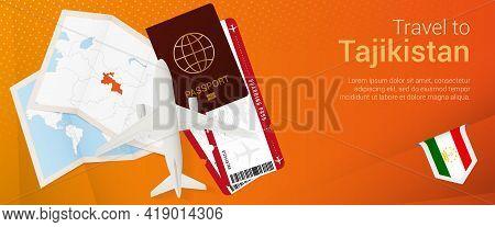 Travel To Tajikistan Pop-under Banner. Trip Banner With Passport, Tickets, Airplane, Boarding Pass,
