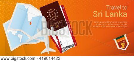 Travel To Sri Lanka Pop-under Banner. Trip Banner With Passport, Tickets, Airplane, Boarding Pass, M
