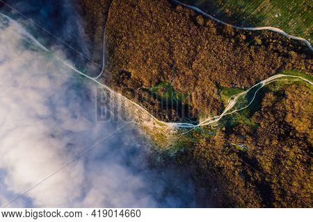 Aerial View With Creeping Clouds And Mountains In Anapa. Foggy Weather