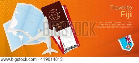 Travel To Fiji Pop-under Banner. Trip Banner With Passport, Tickets, Airplane, Boarding Pass, Map An