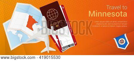 Travel To Minnesota Pop-under Banner. Trip Banner With Passport, Tickets, Airplane, Boarding Pass, M