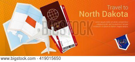 Travel To North Dakota Pop-under Banner. Trip Banner With Passport, Tickets, Airplane, Boarding Pass