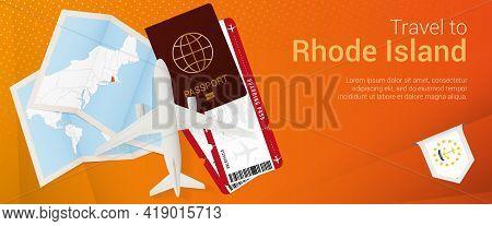 Travel To Rhode Island Pop-under Banner. Trip Banner With Passport, Tickets, Airplane, Boarding Pass