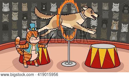 The Cat Trainer Makes A Big Dog Jump Through A Burning Ring.
