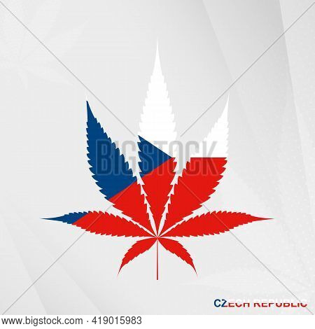 Flag Of Czech Republic In Marijuana Leaf Shape. The Concept Of Legalization Cannabis In Czech Republ
