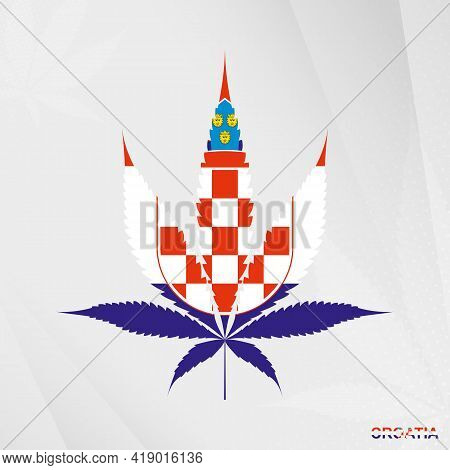 Flag Of Croatia In Marijuana Leaf Shape. The Concept Of Legalization Cannabis In Croatia. Medical Ca