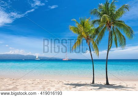 Coco Palms In Sunny Beach With Sail Boats In Turquoise Caribbean Sea In Jamaica Island. Summer Vacat