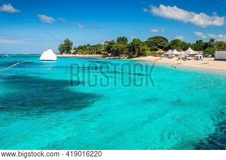 Caribbean Sea In Tropical Caribbean Island. Jamaica Beach In Montego Bay.