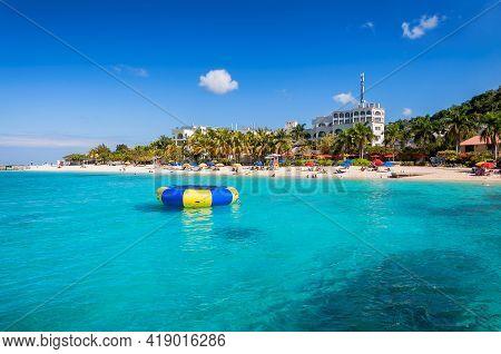 Caribbean Sea In Sunny Beach In Tropical Caribbean Island. Jamaica Beach In Montego Bay.