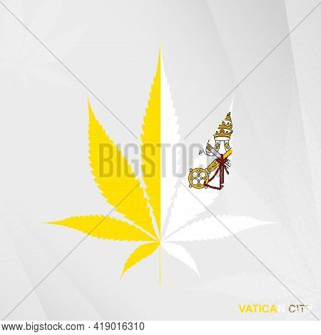 Flag Of Vatican City In Marijuana Leaf Shape. The Concept Of Legalization Cannabis In Vatican City.