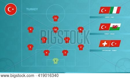 Football Team Of Turkey With Preferred System Formation And Icon For 3 Group Games Of The European F