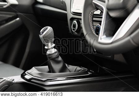 Manual Gear Transmission In New Modern Car.