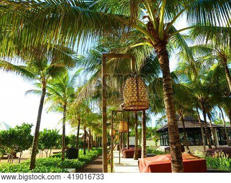 Embankment Tropical Island. Harmonic Balinese Garden. Zen Concept. Cozy Gazebo  And Pathway , Early