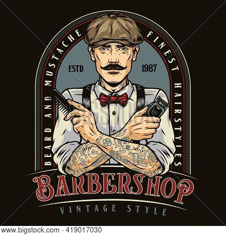 Barbershop Vintage Colorful Emblem With Trendy Mustached Tattooed Barber In Irish Cap With Comb And